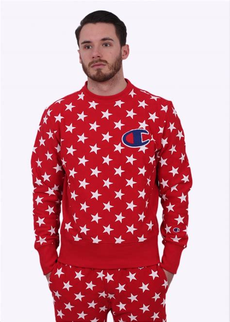 Champion Reverse Weave Star Print Sweater - Red
