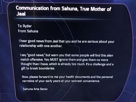 Letter from Jaal's mother | Mass effect andromeda jaal
