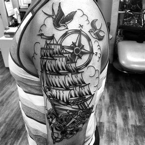 40 Traditional Compass Tattoo Designs For Men - Old School