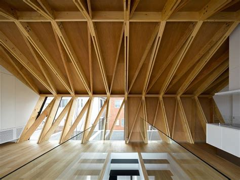 apollo architects exposes zig-zag timber trusses in wrap house