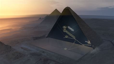 Cosmic rays reveal unknown void in the Great Pyramid of