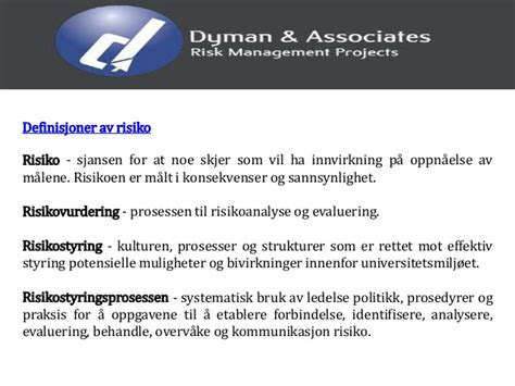 Dyman associates risk management informasjon om skrive en