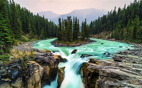 Canada, Parc national de Jasper, Jungle, Chute d'eau