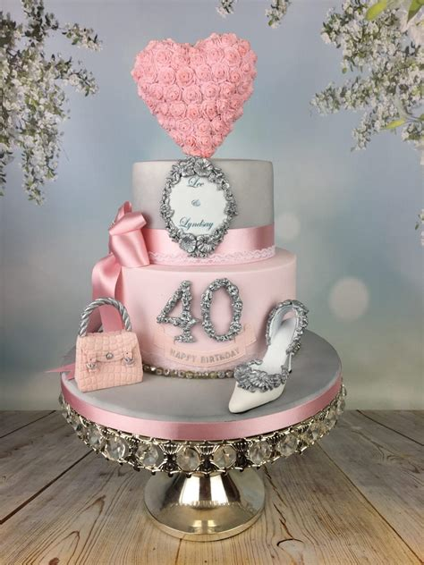 Engagement/Birthday cake in silver and pink - Mel's