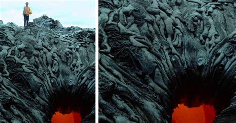 Oddly Shaped Lava Formations Over Lava Skylight in Hawaii