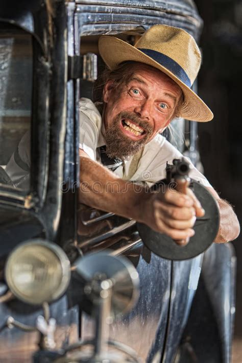 Bearded Gangster Shooting From Car Stock Photo - Image of