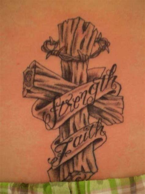 Wooden banner & barbed wire cross tattoo